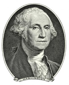 Portrait of first USA president George Washington as he looks on one dollar bill obverse. Clipping path included.
